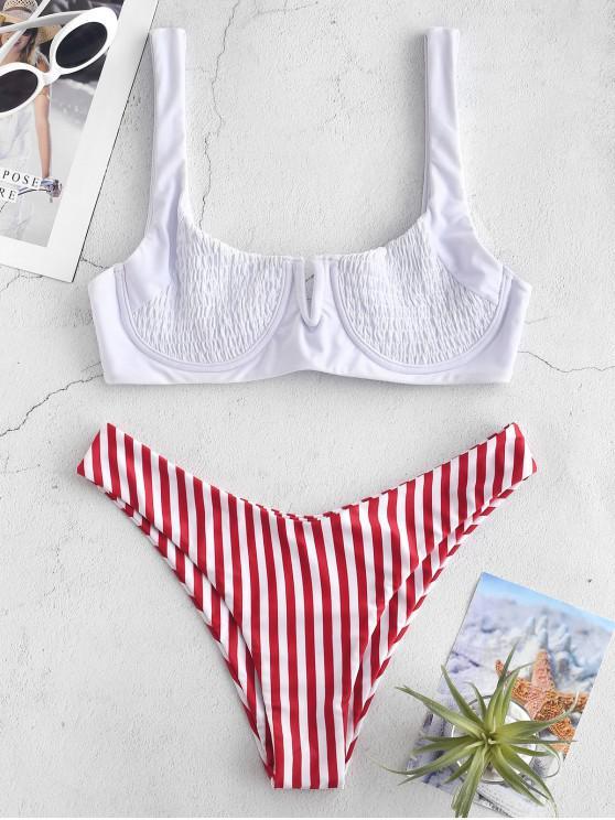 womens ZAFUL Striped Smocked V Wired Bikini Set - RED L