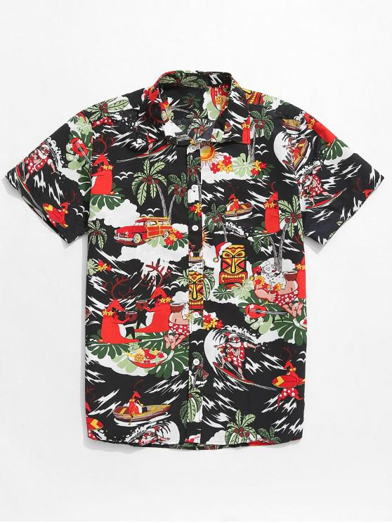 latest Animal Beach Holiday Print Button Up Shirt - MULTI S