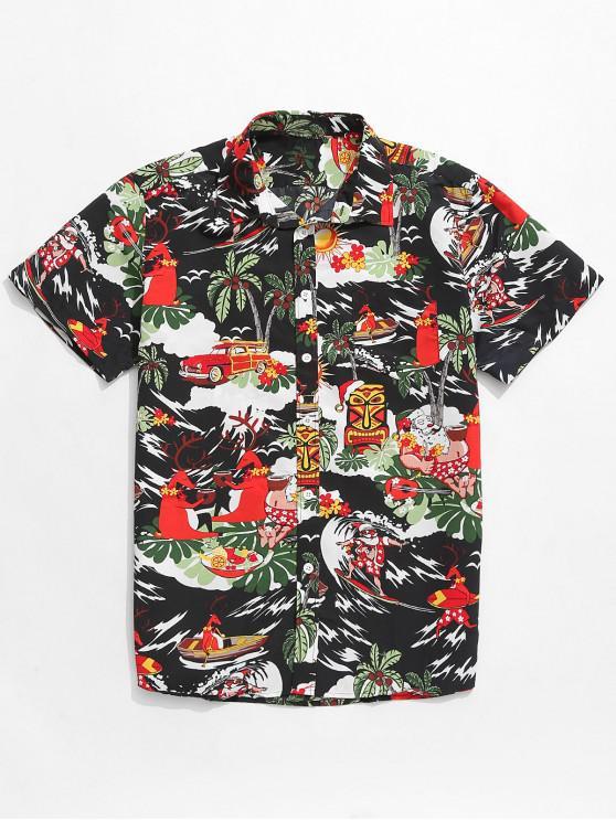 trendy Animal Beach Holiday Print Button Up Shirt - MULTI M
