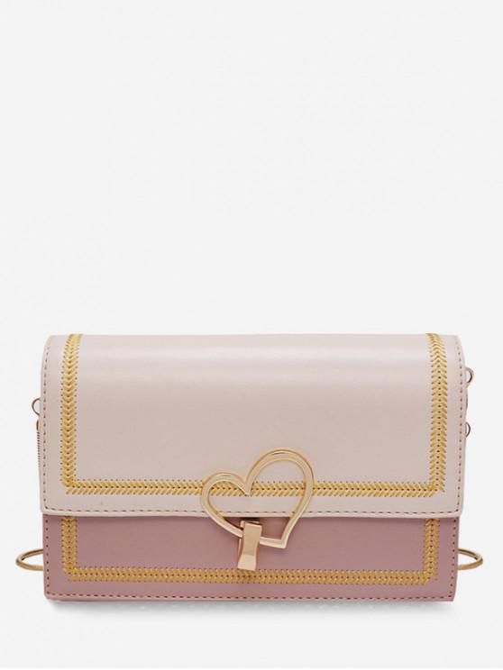 fashion Heart Chain Hit Color Square Shoulder Bag - PINK