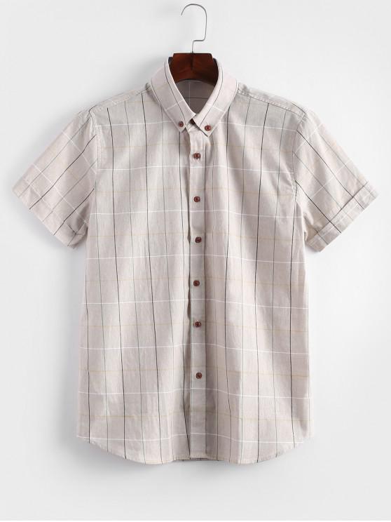 lady Short Sleeves Plaid Print Slim Fit Shirt - KHAKI S