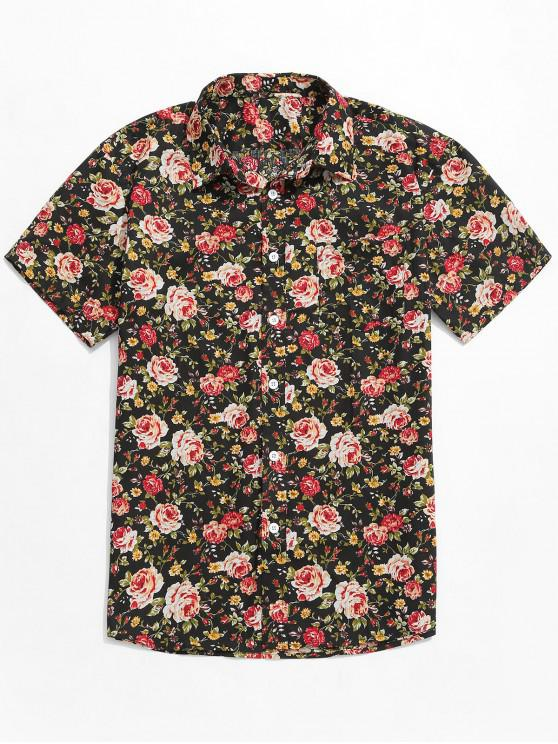 shop Flowers Allover Printed Button Up Shirt - MULTI XL