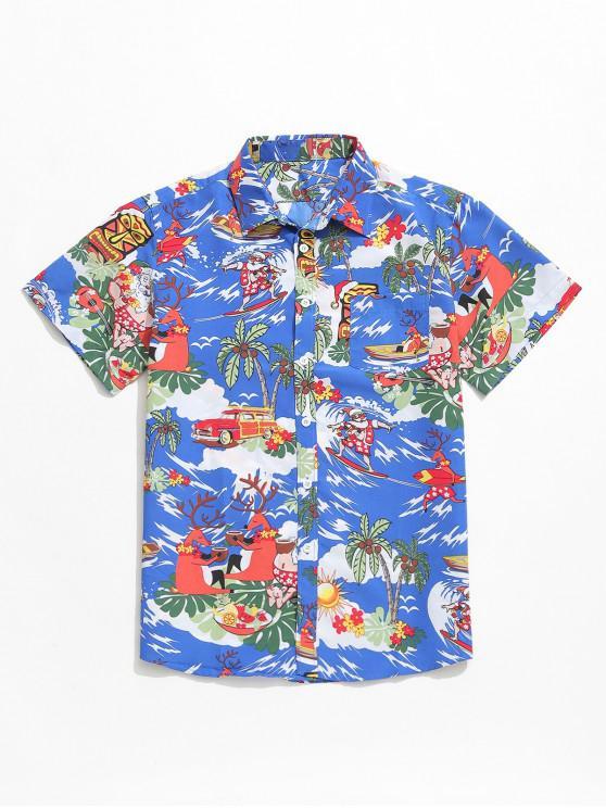 Camisa de playa estampada de vacaciones de plantas animales - Azul Océano  2XL