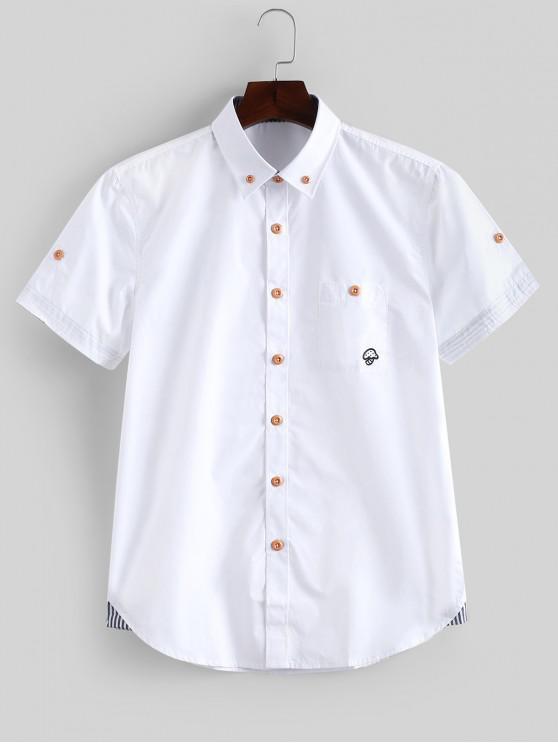 fancy Short Sleeves Striped Print Slim Fit Shirt - WHITE L