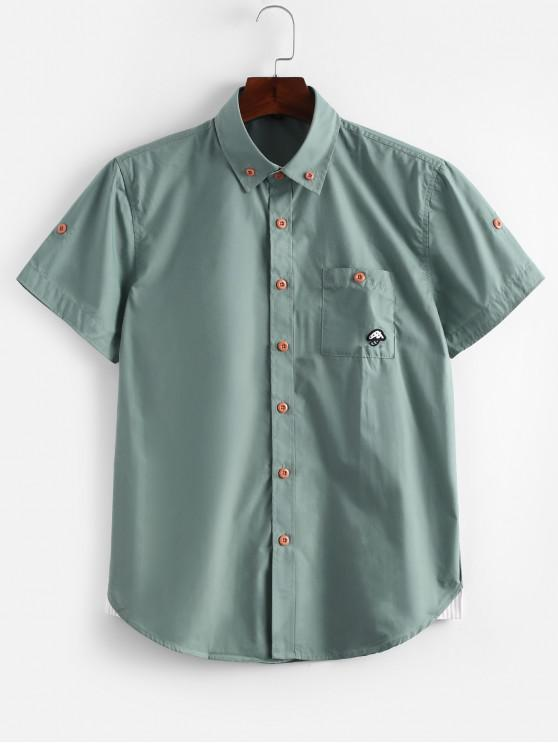 Kurzärmliges Schmal- Ggeschnittenes Hemd mit Streifenmuster - Meergrün L