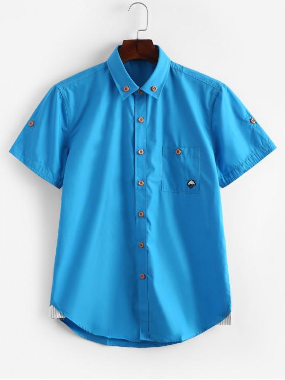 new Short Sleeves Striped Print Slim Fit Shirt - OCEAN BLUE L