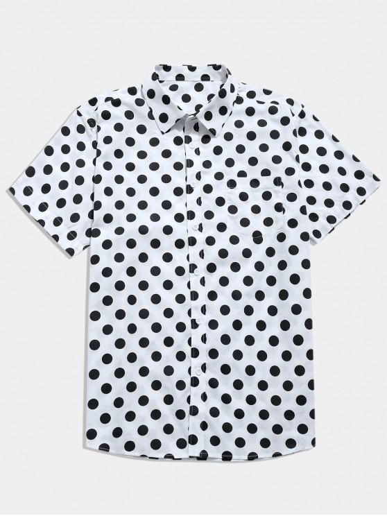 buy Polka Dots Print Short Sleeves Casual Shirt - WHITE L