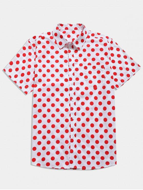 new Polka Dots Print Short Sleeves Casual Shirt - RUBY RED S