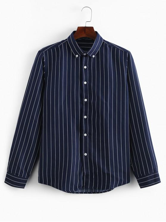 chic Striped Print Slim Fit Long Sleeves Shirt - CADETBLUE M
