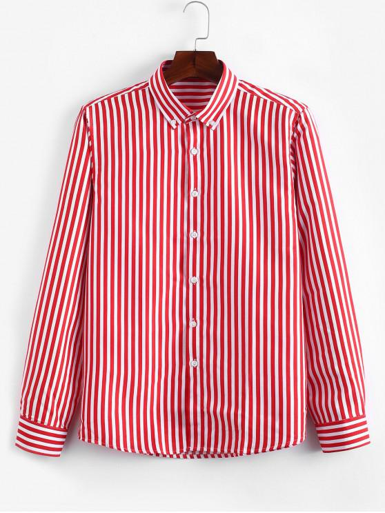 fancy Striped Print Slim Fit Long Sleeves Shirt - RED XS