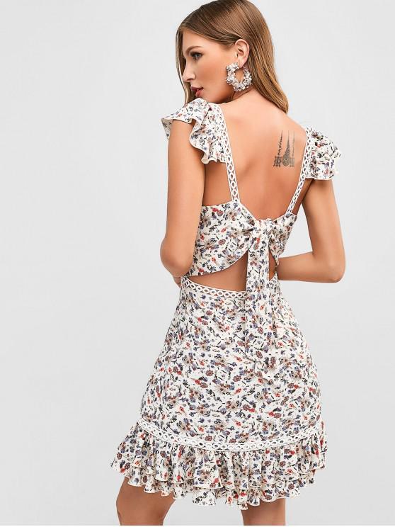 shop ZAFUL Flower Tie Back Flounce Dress - WHITE S