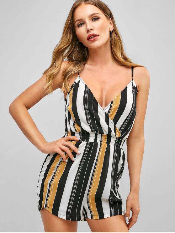 fashion ZAFUL Cami Smocked Stripes Romper - MULTI-B S