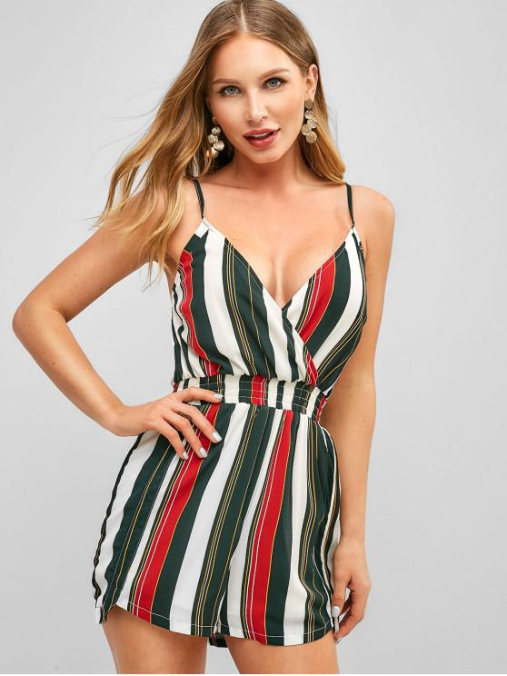 shop ZAFUL Cami Smocked Stripes Romper - MULTI-A S