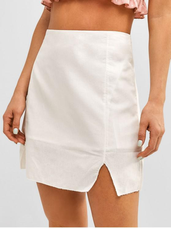 shop Cut Out Plain Flare Skirt - WHITE M