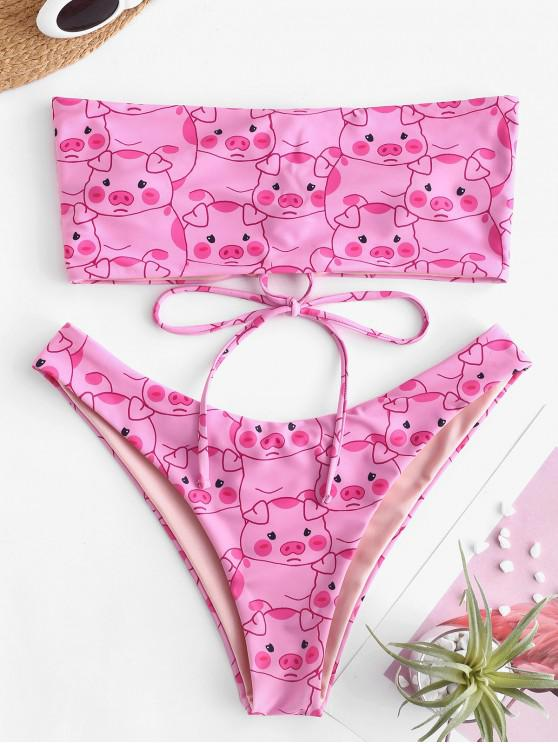 unique ZAFUL Pig Print Lace-up Bandeau Bikini Set - PINK L
