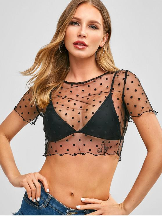 lady ZAFUL Polka Dot Sheer Crop Blouse - BLACK M