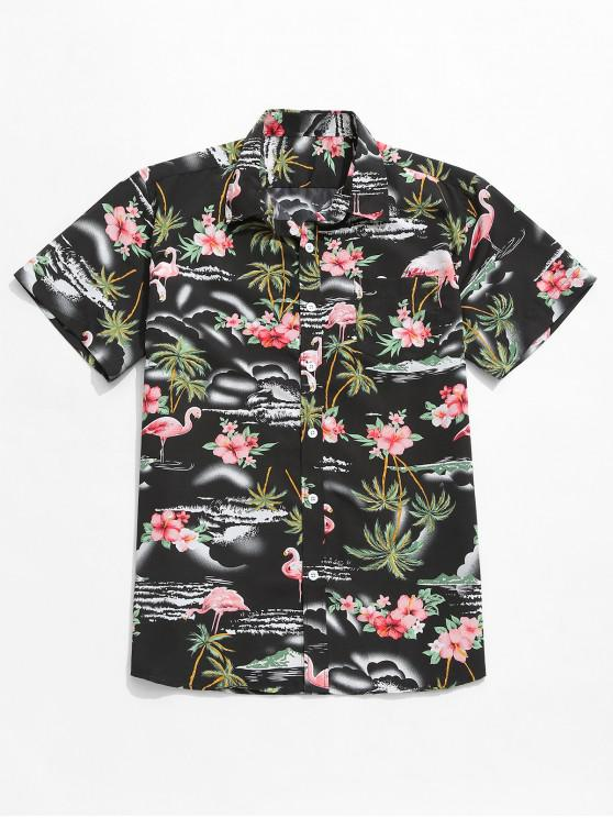 chic Coconut Tree Flowers Animal Print Beach Shirt - BLACK L