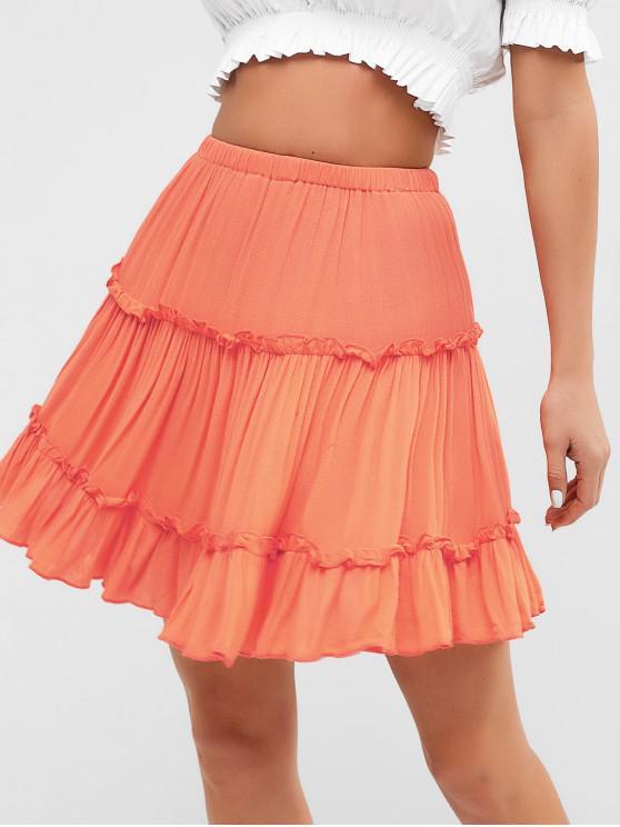 fashion Ruffles A Line Mini Skirt - ORANGE XL