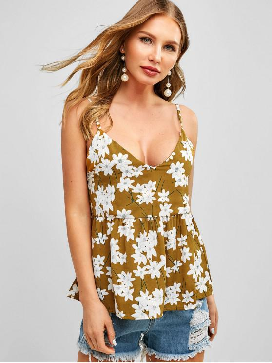 d0184291dbe 15% OFF  2019 Peplum Hem Floral Print Cami Top In MULTI