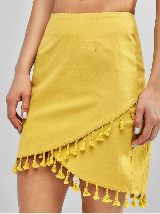womens Tassels Overlap Asymmetrical Mini Skirt - GOLDENROD XL