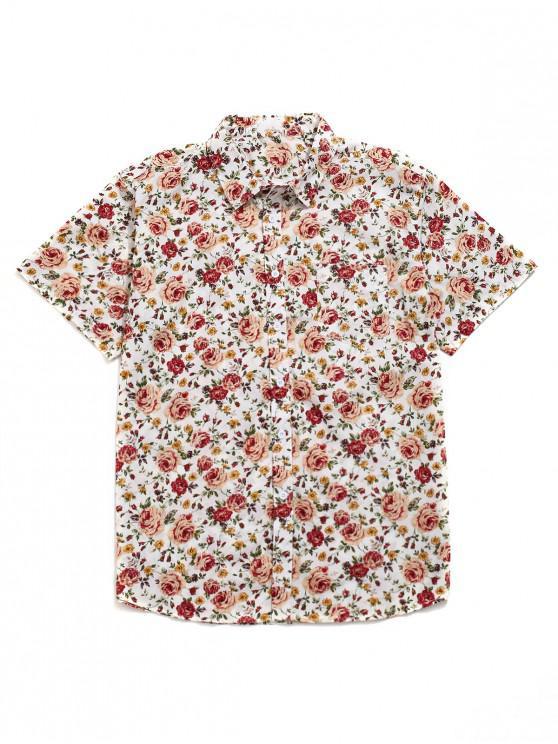 Blumenmusterdruck- Beiläufiges Strandhemd - Multi XL