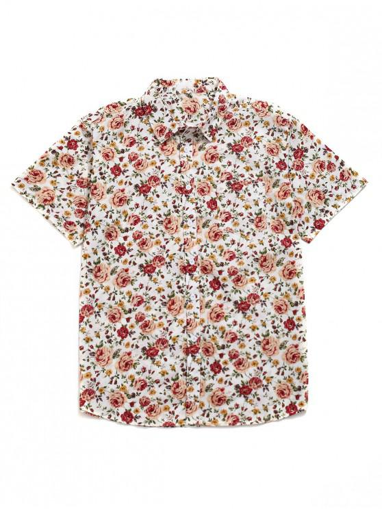 hot Floral All Over Print Casual Beach Shirt - MULTI M