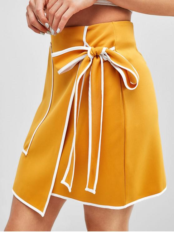 fancy Knotted Overlap Pocket Mini Skirt - BEE YELLOW M