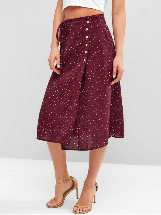 chic Buttoned Moon Dots Wrap Skirt - RED WINE L