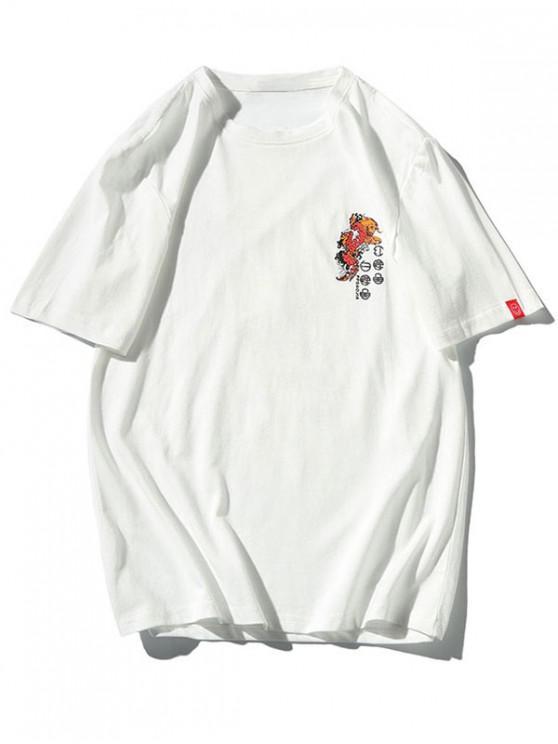 T-shirt Lettre Graphique et Koi Imprimés - Blanc M