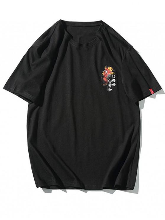 ladies Koi Letters Graphic Print Shirt Sleeves T-shirt - BLACK XL