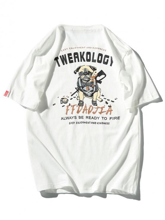 T-shirt à manches courtes avec lettres de soldat pour chien - Blanc L