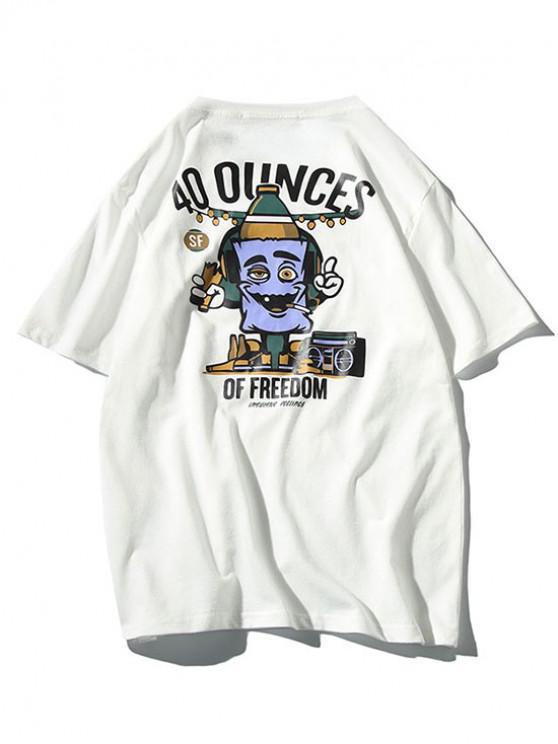 T-shirt manches courtes imprimé motifs de dessins animés - Blanc 3XL
