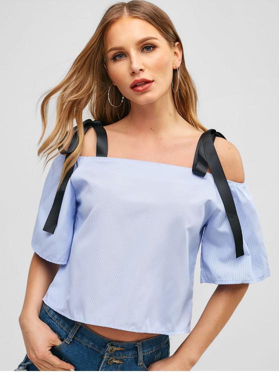 outfit Straps Stripes Cold Shoulder Blouse - LIGHT BLUE M