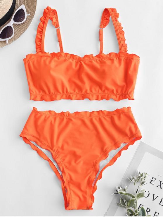buy ZAFUL Lettuce Frilled Bandeau Bikini Set - BRIGHT ORANGE S