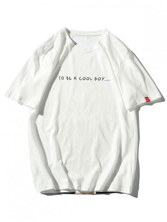 T-shirt à manches courtes avec motif de chat et lettres - Blanc 3XL