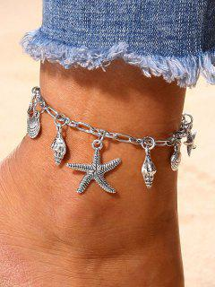Starfish Shell Shape Charm Anklet - Silver