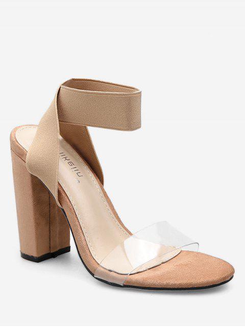 women's Elastic Band Chunky Heel Sandals - APRICOT EU 37 Mobile