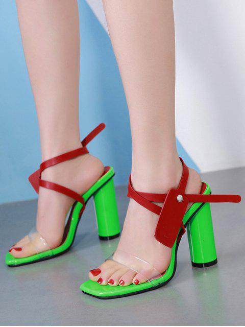 best Contrast Color Chunky Heel Sandals - RED EU 37 Mobile