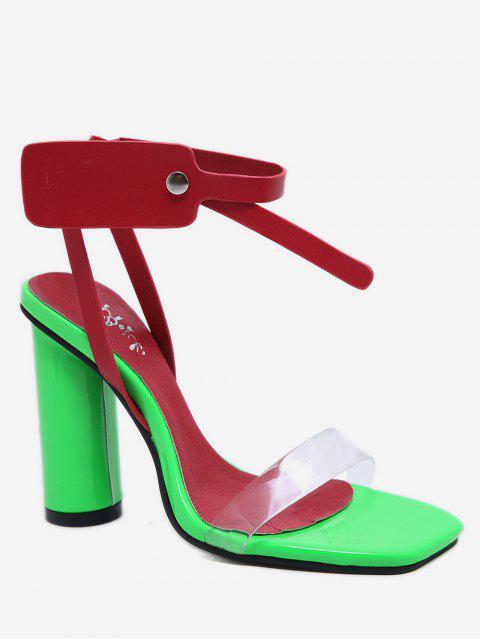 Контрастные цветы Сандалии На толстом каблуке - Красный ЕС 36 Mobile