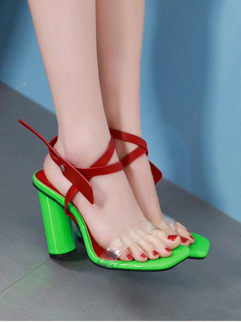 buy Contrast Color Chunky Heel Sandals - RED EU 38 Mobile