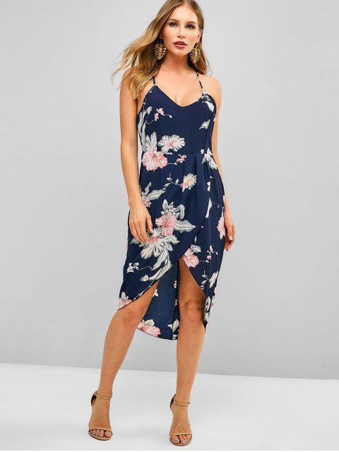 women Floral Print Asymmetric Cami Dress - DEEP BLUE S Mobile
