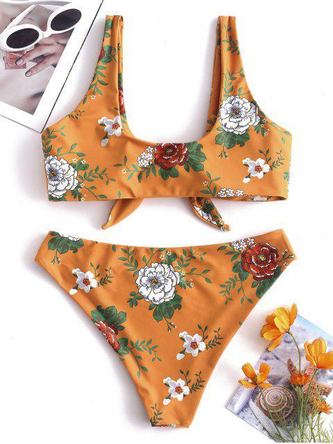 Bikini Floral con Lazo de ZAFUL - Amarillo Brillante L Mobile