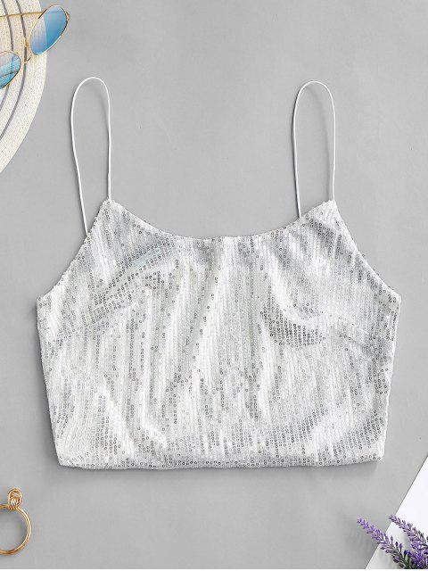 shops ZAFUL Cropped Sequined Cami Tank Top - SILVER L Mobile