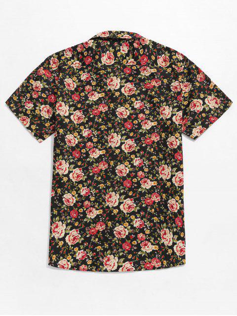 Camisa con botones estampados en toda la prenda de flores. - Multicolor L Mobile