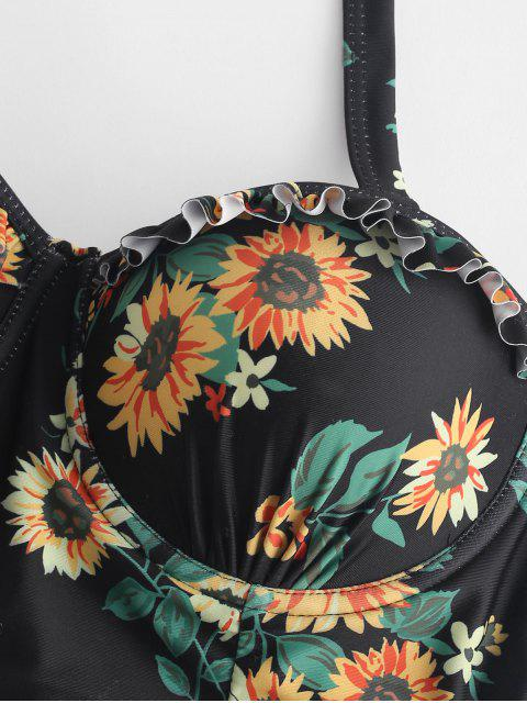 ZAFUL Floral con volantes de encaje hasta el juego de Tankini moldeado - Negro S Mobile