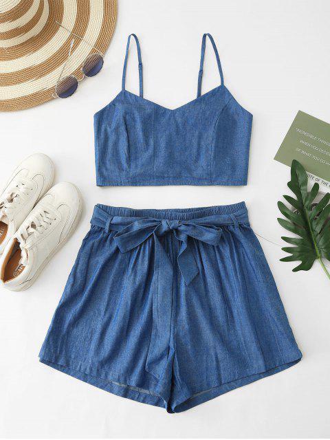 latest ZAFUL Smocked Chambray Belted Shorts Set - DENIM BLUE S Mobile