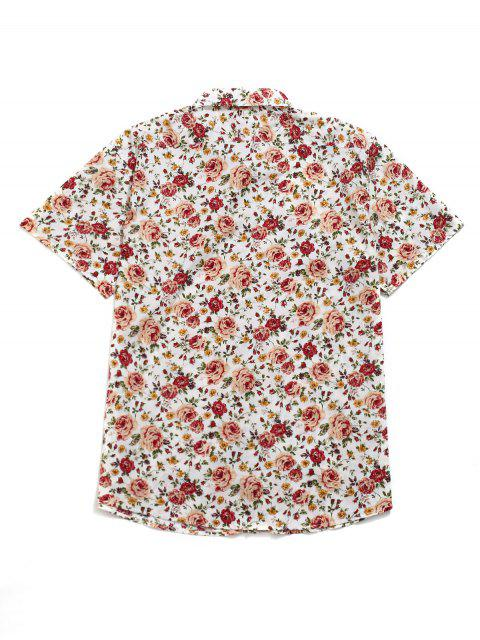 hot Floral All Over Print Casual Beach Shirt - MULTI M Mobile