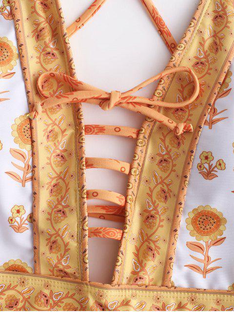 unique ZAFUL Ethnic Floral Lattice Backless Swimsuit - MULTI-A M Mobile