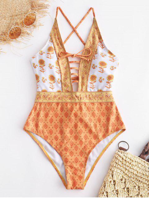 women ZAFUL Ethnic Floral Lattice Backless Swimsuit - MULTI-A S Mobile