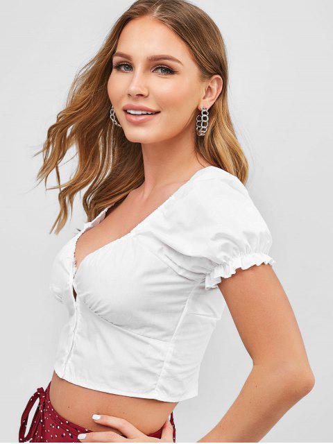 unique Smocked Back Buttoned Crop Blouse - WHITE L Mobile